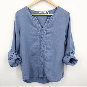 Three Dots Chambray 100% Linen Popover Blouse Blue